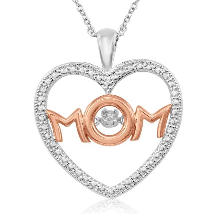98d64a665 Shimmering Stars DiamondI Love Mom Heart Necklace In Platinum Overlay and Rose  Gold, 18 Inches