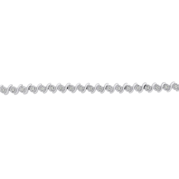1/2 Carat Natural Diamond Bracelet, Platinum Overlay, 7