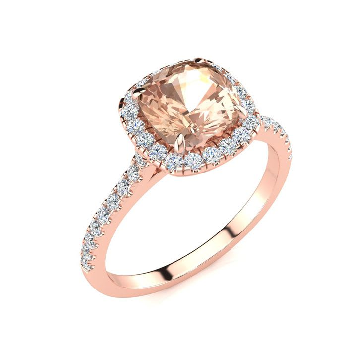 5acb943f07051 Morganite | Morganite Ring | 2ct Cushion Cut Morganite and Halo ...