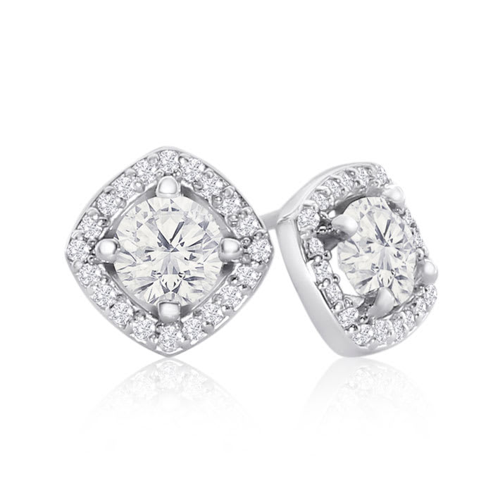 0e5630940 14K White Gold 1 1/5 Carat Cushion Shape Halo Diamond Stud Earrings,  Martini Setting