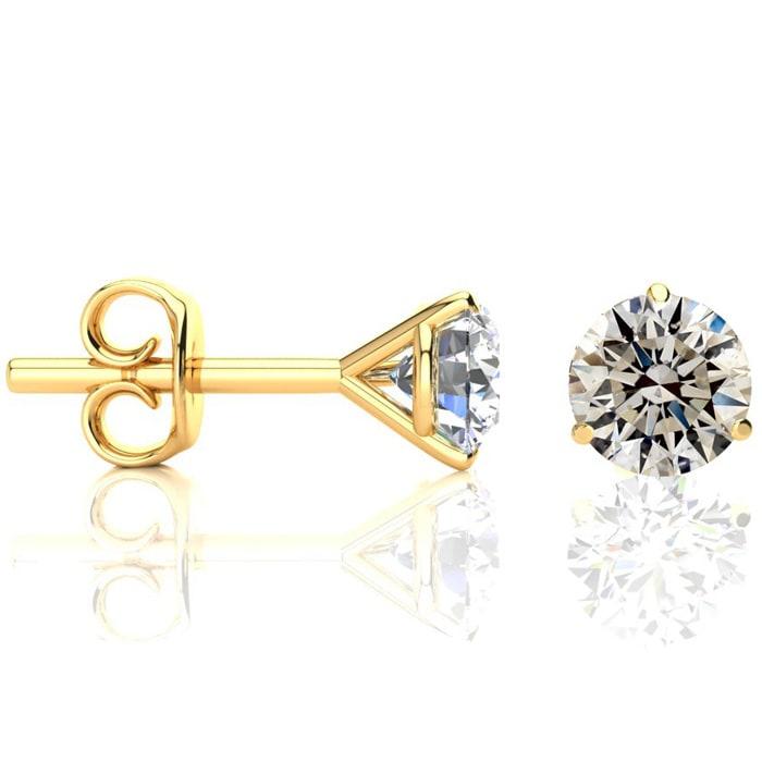 73f9e2338 VERY FIERY 1.50 Carat NATURAL Diamond Stud Earrings in 14k Yellow Gold  Martini Settings. BLOWOUT DEAL!