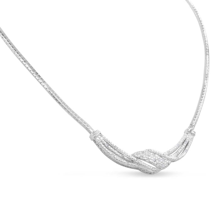 1/4 Carat Diamond Designer Necklace In Platinum Overlay, 18 Inches. Fantastic Shimmering Necklace. Looks Very Expensive!