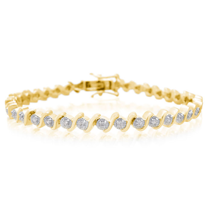 Tennis Bracelet Diamond 1 2 Carat S Type Yellow Gold Overlay 7 Inches Best Jewelry Deals