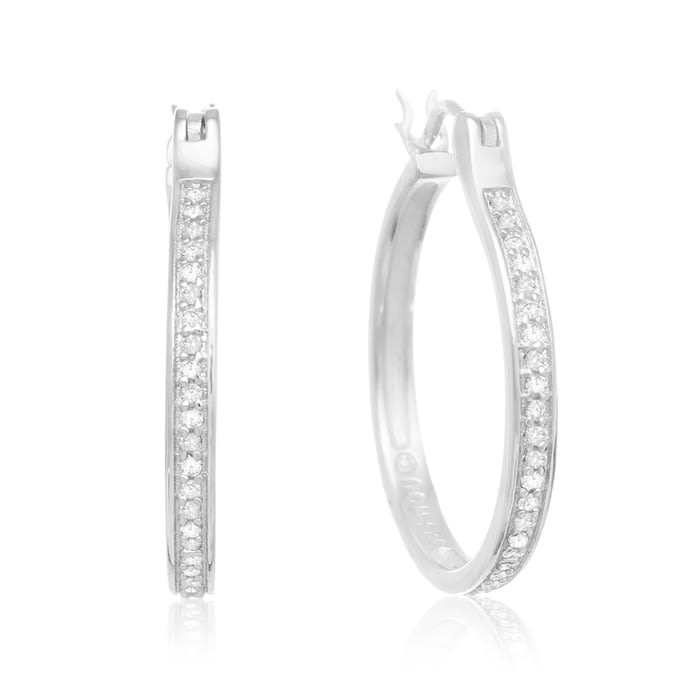 1 4ct Diamond Hoop Earrings In Sterling Silver Superjeweler Com