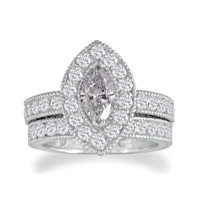 53014c450b Halo Engagement Rings | 2ct Marquise Diamond Bridal Set in 14k White ...
