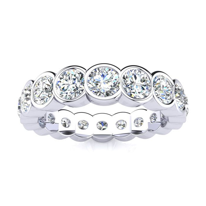 round diamond eternity thin bezel bands set gold wh ring band