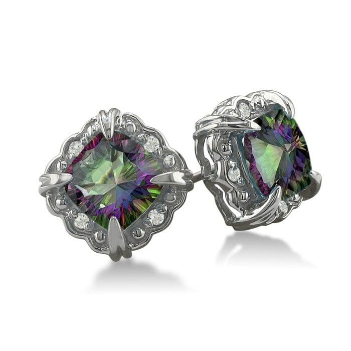 Mystic Topaz Earrings 2ct Cushion Cut And Diamond In White Gold Superjeweler