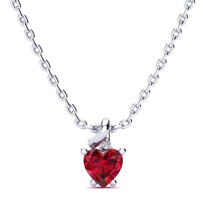 d73eef1a9cd15 Ruby Necklace | July Birthstone | 1/2ct Created Ruby and Diamond ...