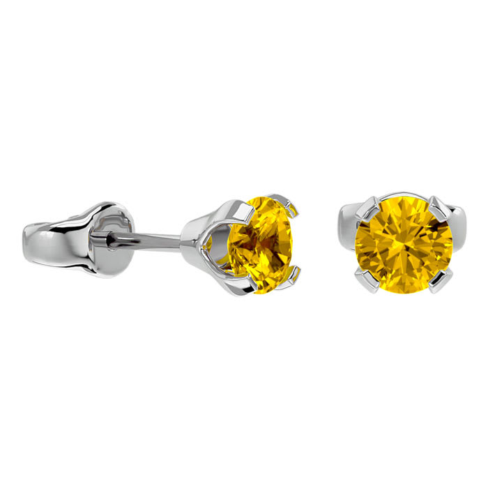 Mia Diamonds 14k Yellow Gold 4mm November//Citrine Post Earrings