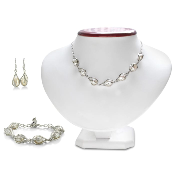Unusual Freshwater Pearl Set Necklace Bracelet And Earrings June Birthstone Superjeweler