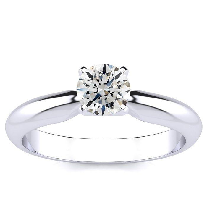 a0c28e15d5e05 1/2 Carat Round Shape Diamond Solitaire Ring In 14K White Gold ...