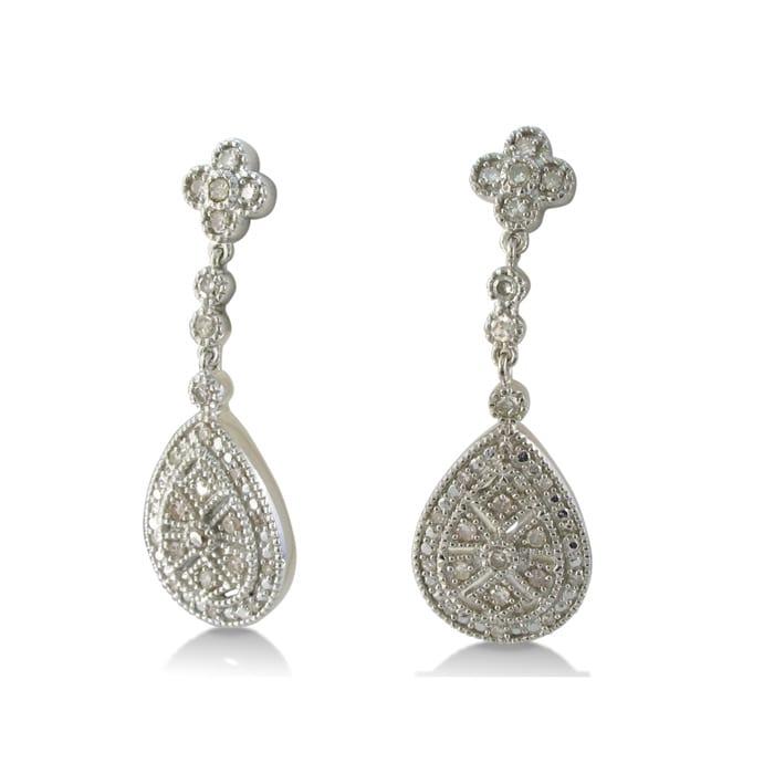 1 2ct Vintage Diamond Chandelier Dangle Earrings In Sterling Silver