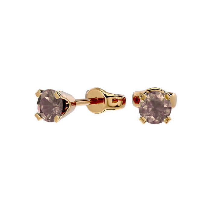 1 3ct Chocolate Bar Brown Champagne Certified Diamond Stud Earrings In 14k Yellow Gold