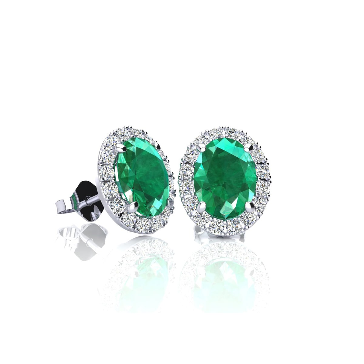 4 Carat Oval Shape Emerald And Halo Diamond Stud Earrings In 14 Karat  White Gold Item Number: Jwl 19911