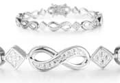 Diamond Infinity Bracelet in Platinum Overlay
