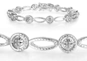 Antique Reproduction 20 Point Diamond Tennis Bracelet in White Gold Overlay