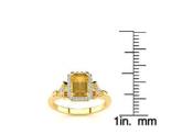 1 Carat Emerald Cut Citrine and Halo Diamond Vintage Ring In 14 Karat Yellow Gold