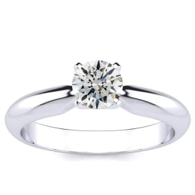 1/2 Carat Round Shape Diamond Solitaire Ring In Platinum