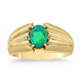 1 1/2ct Oval Created Emerald and Diamond Men's Ring Crafted In Solid 14K Yellow Gold
