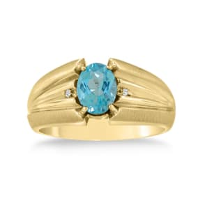 1 1/2ct Oval Blue Topaz and Diamond Men's Ring Crafted In Solid Yellow Gold
