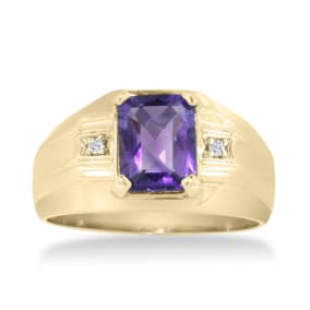 2 1/4ct Amethyst and Diamond Men's Ring Crafted In Solid 14K Yellow Gold