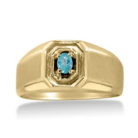 1/4ct Oval Blue Topaz Men's Ring Crafted In Solid 14K Yellow Gold