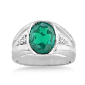 4 1/2ct Oval Created Emerald and Diamond Men's Ring Crafted In Solid 14K White Gold