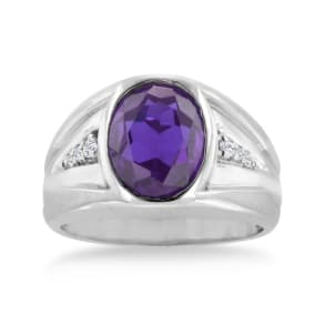 4 1/2ct Oval Amethyst and Diamond Men's Ring Crafted In Solid 14K White Gold