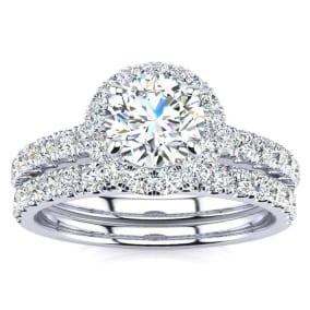 1 1/2 Carat Pave Halo Diamond Bridal Set in 14k White Gold