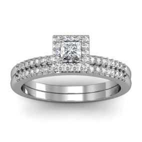 1/2 Carat Princess Cut Pave Halo Diamond Bridal Set in 14k White Gold