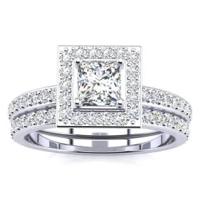 1 Carat Princess Cut Pave Halo Diamond Bridal Set in 14k White Gold