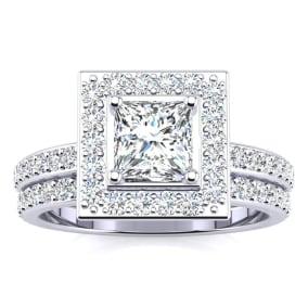 2dd190d32d4fd5 1 1/2 Carat Princess Cut Floating Pave Halo Diamond Bridal Set in 14k White