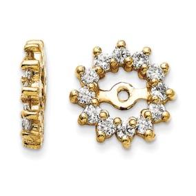 14K Yellow Gold Halo Sun Diamond Earring Jackets, Fits 3/4-1ct Stud Earrings