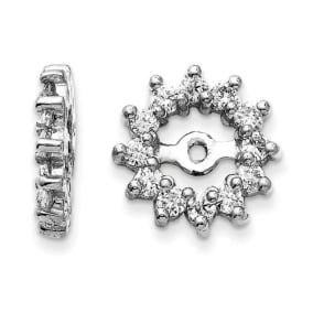 14K White Gold Halo Sun Diamond Earring Jackets, Fits 3/4-1ct Stud Earrings
