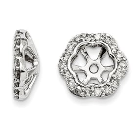 14K White Gold Floral Inspired Diamond Earring Jackets, Fits 3/4-1ct Stud Earrings