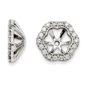 14K White Gold Floral Inspired Diamond Earring Jackets, Fits 1 3/4-2ct Stud Earrings