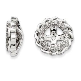 14K White Gold Modern Halo Diamond Earring Jackets, Fits 1 3/4-2ct Stud Earrings