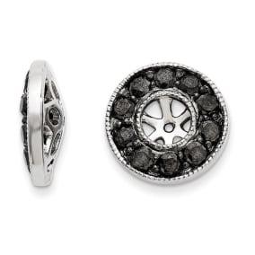 14K White Gold Large Black Diamond Earring Jackets, Fits 1/3-1/2ct Stud Earrings