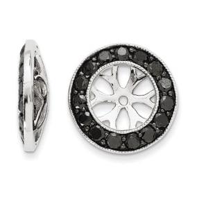 14K White Gold Large Black Diamond Earring Jackets, Fits 2 3/4-3ct Stud Earrings