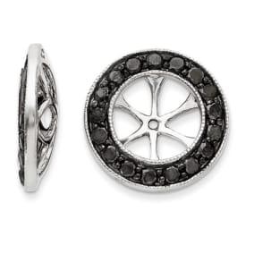 14K White Gold Large Black Diamond Earring Jackets, Fits 3 3/4-4ct Stud Earrings
