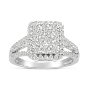 Previously Owned 1ct Princess Style Pave Halo Diamond Engagement Ring Crafted In Solid White Gold, Size 5
