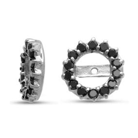 14K White Gold Classic Black Diamond Earring Jackets, Fits 2-2 1/2ct Stud Earrings