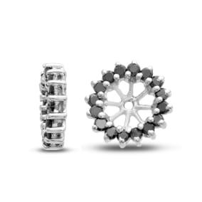 14K White Gold Classic Black Diamond Earring Jackets, Fits 1 1/2-2ct Stud Earrings