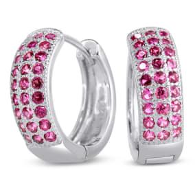 1ct Pink Sapphire Hoop Earrings