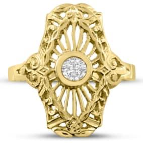 1/10 Carat Cathedral Diamond Ring In 14 Karat Yellow Gold