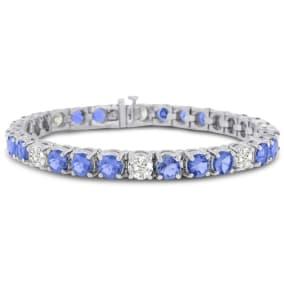 16 Carat Tanzanite and Diamond Bracelet In 14 Karat White Gold