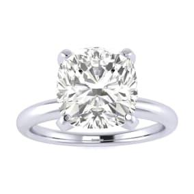 3 Carat Cushion Diamond Engagement Ring In 14K White Gold