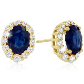 3.20 Carat Fine Quality Sapphire And Diamond Earrings In 14K Yellow Gold