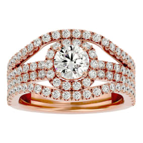 2 Carat Halo Diamond Engagement Ring in 14 Karat Rose Gold