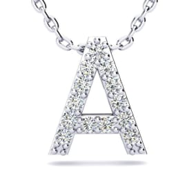 Letter A Diamond Initial Necklace In 14K White Gold With 13 Diamonds
